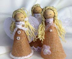 rustic angels set of 3 handmade angelswedding giftangels