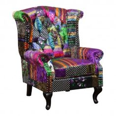 Prague 1 Seater Wingback Occasional Chair in Patchwork B
