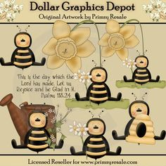 Bees - Clip Art - $1.00 : Dollar Graphics Depot, Quality Graphics ~ Discount Prices