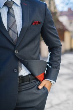 """raatalistudio: """" Blue suit is the the ultimate business suit. For a little bit less formal look go for bird's eye pattern and add some small details. Notice the details we added to this suit. Buttonholes on the sleeves and lapel are red. We used red..."""