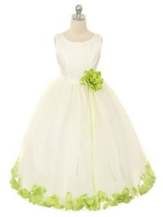 IVORY DRESS WITH LIME PETALS