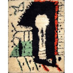 """Picasso's Rare Rug """"La Serrure,"""" circa 1955   From a unique collection of antique and modern western european rugs at https://www.1stdibs.com/furniture/rugs-carpets/western-european-rugs/"""
