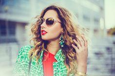 Round Sunglasses, Sunglasses Women, Statement Earrings, Orange, Green, Style, Fashion, Swag, Moda