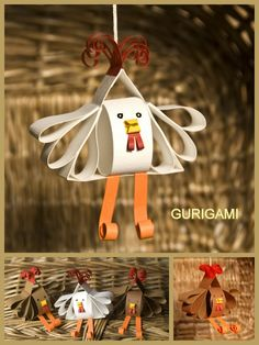 Feito com rolos de papel higiénico          gurigami: Tyúkocskás egységcsomag