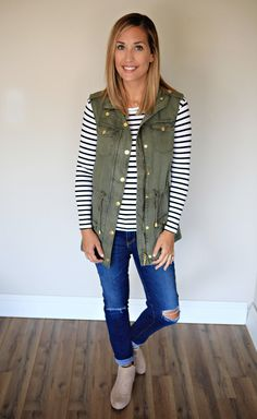 * All Sale items are final sale. No returns, no exchanges. The Marlow Vest is an army green vest. Runs true to size. Model wearing small. For model stats click HERE.