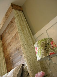 headboard made from reclaimed wood, not sure it needs the curtains. What do you think?