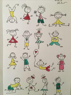 Easy Disney Drawings, Art Drawings For Kids, Doodle Drawings, Drawing For Kids, Cartoon Drawings, Doodle Art, Easy Drawings, Art For Kids, Doodle People