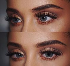 Rose gold eyeshadow fit for a tanned makeup look