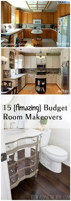 15 {Amazing} Budget Room Makeovers. DIY, DIY home projects, home décor, home, dream home, DIY kitchen, DIY kitchen projects, weekend DIY projects.