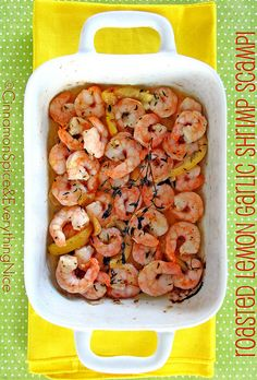 Roasted Lemon Garlic Herb Shrimp #paleo, mostly (skip the butter or else use Kerrygold, and serve over spaghetti squash)