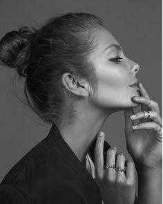 #eniko mihalik #model #fashion #photography #black and white #ring #piercing #rock #delicate #stylemeromy #georges antoni #look #hair #bun