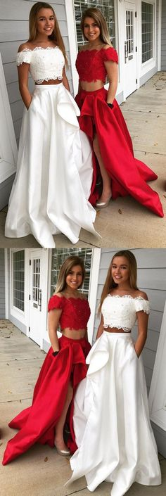 Elegant Two Pieces Off The Shoulder Prom Dresses,Long Prom Dresses,Green Prom Dresses, Evening Dress Prom Gowns, Formal Women Dress, M1855