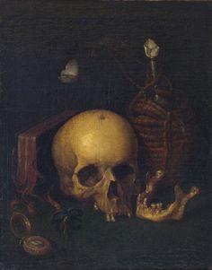 Harmen Steenwijck (1612 – 1656)-attributed, Vanitas still life, oil on canvas, laid down on board, framed. 50x39cm