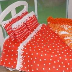 Dreamsicle Inspired 18in Doll Bedding by taeledbetter on Etsy, $39.99