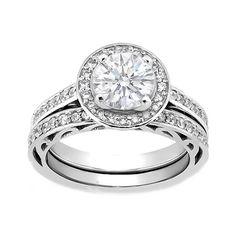 Diamond Filigree Halo Engagement Ring & Matching Wedding Band