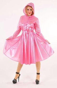 Pvc u like Pink Raincoat, Raincoat Jacket, Plastic Raincoat, Plastic Pants, Plastic Mac, Hooded Cloak, Hooded Dress, Pvc Trousers, Pvc U Like