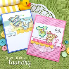Baby Onsie Cards by Jennifer Jackson | Loveable Laundry stamp set and Stitched Onsie die set by Newton's Nook Designs #newtonsnook