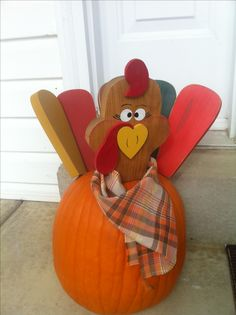 I found this at a craft fair ages ago and we use it every year. Each wooden piece attaches to the pumpkin after Halloween with a little metal rod on its bottom. Our Tom the Turkey stays up until Thanksgiving and if the pumpkins still good, you can paint it white and put a snowman face and hat on top for winter or as long as it will last!