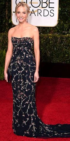 Golden Globes 2015 Best Dresses : Joanne  Froggatt- best supporting actress in a series for Downton Abbey - love this Marchesa gown!