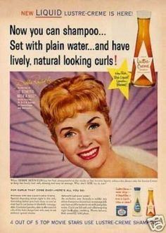 "Lustre Creme Shampoo DEBBIE REYNOLDS 8 X 11 INCHES OF A colored ad. Debbie was starring in the move ""It Started with a Kiss"" . New liquid lustre creme is here.and have lively, natural looking curls. Retro Ads, Vintage Advertisements, Vintage Ads, Natural Looking Curls, Female Movie Stars, Star Actress, Beauty Ad, Beauty Shop, Debbie Reynolds"
