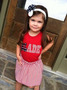Personalized Flag Striped Skirt Set Patriotic for 4th of July by www.BlissyCouture.net   www.Facebook.com/BlissyCouture