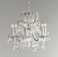 RH Baby & Child's Manor Court Crystal Chandelier - Aged Pewter:Inspired by an antique find, our regal chandelier's scrolling arms are draped with strands of glass beads and faceted crystals in a mix of shapes and sizes.SHOP THE ENTIRE COLLECTION ▸ Chandelier Bedroom, Chandelier Lighting, Dining Chandelier, Crystal Chandeliers, Luxury Nursery, Restoration Hardware Baby, Custom Drapes, Faceted Crystal, Of Wallpaper