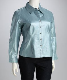 Take a look at this Blue Plus-Size Button-Up Shirt Jacket by Live a Little: Plus-Size on #zulily today!