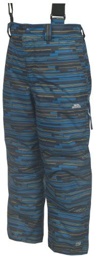 Trespass Boys Barclay Ski Pants - Ultramarine Print, 5-6 Years Boys padded ski trousers. Tricot lining. 2 zip pockets. Detachable braces. Side leg ventilation zips. Side ankle zips. Kick patches. Ankle gaiters. Articulated knee darts (Barcode EAN = 5050985532855) http://www.comparestoreprices.co.uk/december-2016-6/trespass-boys-barclay-ski-pants--ultramarine-print-5-6-years.asp
