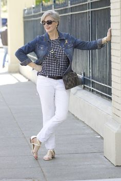 White jeans, cotton abstract print, denim jacket, sandals