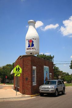 """Route 66 - Braum's Milk Bottle in Oklahoma City on Rt. 66. """"The Fine Art Photography of Frank Romeo."""""""