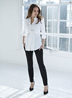 06 tie front maternity blouse black pants and heels are classics &; 06 tie front maternity blouse black pants and heels are classics &; Maternity Business Casual, Business Outfit, Stylish Maternity, Maternity Wear, Maternity Fashion, Maternity Dresses, Summer Maternity, Maternity Pants, Maternity Style