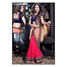 Viva N Diva Pink Color Georgette #Lehanga #onlineshopping http://goo.gl/I0Jr59