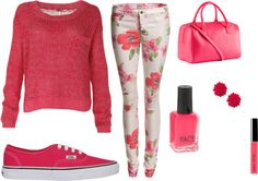 """""""school-outfit winter roze :)"""" by yvetboele ❤ liked on Polyvore"""