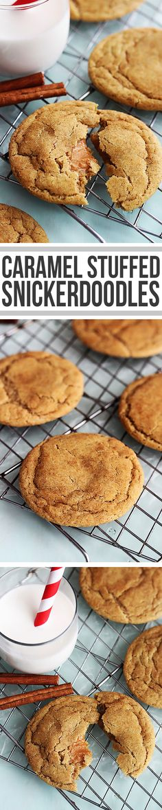 f13b7a25c5 Soft and fluffy snickerdoodle cookies stuffed with ooey gooey caramel.  Desszertreceptek