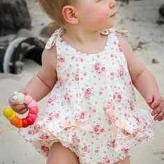 Rose Bud Romper --- Children's Sewing Pattern by Felicity Sewing Patterns. Sizes 3 months to 3 years.