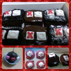 Love Theme Bakes: 1) XOXO Brownies  2) Dark Chocolate Cake Pops 3) Red Velvet Cupcakes 4) Love Letter Cupcakes #cupcakes #love #brownies #cakepops #ZuckerAmor