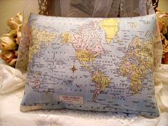 Vintage Chic World Map Accent Canvas Pillow by kristyschicboutique, $9.99