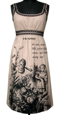 Alice in Wonderland screenprinted Cotton Dress by FollyandFoible, $160.00  check this out @Amber Kenneson!