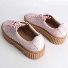 Yinka Creepers In Pink Crushed Velvet