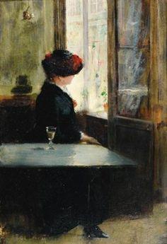Au café ou l'attente by Fernand de Launay