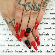 Cute Stiletto Red & Black Nails