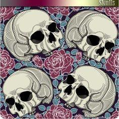 Skeleton-Skull: Skulls and Flowers