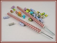 $14.95 I offer a colorful, hand made, hand held Paper Bead Rolling tool which make making paper beads really easy! Click on the images of the tools to see more detail.