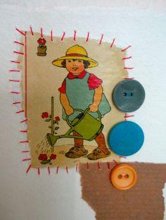 Vintage Gardening Girl Blank Greetings Art Collage Card UK Seller. $4.00, via Etsy.