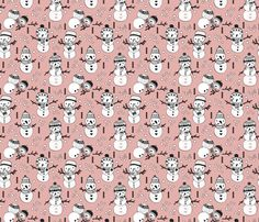 Cute winter snowman sweet snow woodland design with snow puppet in black and white and soft peach pink fabric - surface design by Little Smilemakers on Spoonflower - custom fabric and wallpaper inspiration for kids clothes fun fashion and trendy home decorations.