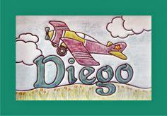 Cuadro niño  con ilustración de avión infantil y nombre de niño en cerámica. Diego. Decoración para la habitación de  bebés y niños. Marco de madera lacado en blanco.