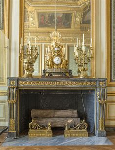 Gilt bronze : Pierre Gouthière, Fireplace in the Salon des Nobles de la Reine, Versailles Palace, 1785. #versailles #palace #gilt #bronze #fireplace #gouthiere #marble #french #antique