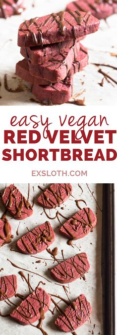 Easy red velvet vegan shortbread cookies (made with coconut oil, not butter). Perfect as a healthy alternative to Christmas cookies or traditional Valentine's Day treats via ExSloth.com