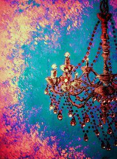Turquoise Chandelier Print via Etsy.