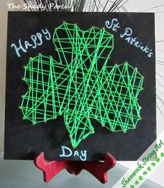 String Art: Shamrock Craft for St. Patrick's Day #stringart #shamrock #decoration #DIY #tutorial